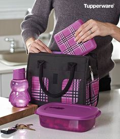 New! Ladies Lunch Set. Enjoy healthy, homemade portions in perfect plaid. Includes insulated lunch bag, Pengui Water Bottle in exclusive Purplicious, and CrystalWave® Rectangular and Sandwich Keeper.