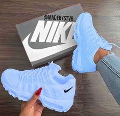 25 Women Shoes For Teens Nike Shoes blue nike sneakers Nike Shoes Blue, Nike Air Shoes, Blue Nike, Purple Sneakers, Baby Blue Shoes, Black Shoes Sneakers, Sneakers Style, Nike Shoes Outfits, Nike Tennis Shoes
