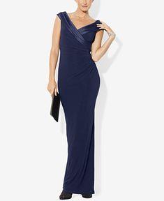 Lauren Ralph Lauren Satin-Trim Jersey Gown - Dresses - Women - Macy's