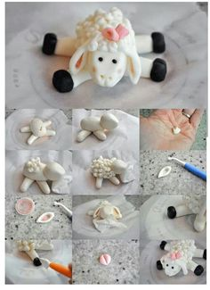 Little lamb tutorial - For all your cake decorating supplies, please visit craft. Fondant Toppers, Fondant Icing, Fondant Cakes, Cupcake Cakes, Sheep Fondant, Sheep Cake, Piping Icing, 3d Cakes, Cupcake Toppers