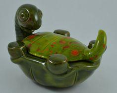 Vintage 1974 Hand Painted Ceramic Turtle Dish