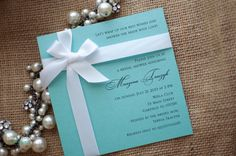 Custom Listing for Rocio - Tiffany Box Bridal Shower Invitation on Tiffany Blue Pearlescent Card stock - Set of 35