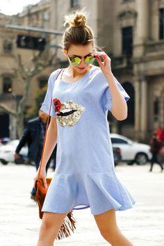 2016 Fashion Lip Sequined Embroidered Ruffle Dress Blue Plus Size XL XXL 3XL 4XL 5XL Blue Lips, Ruffle Dress, Blue Dresses, Plus Size, T Shirt, Fashion, Supreme T Shirt, Moda, Tee Shirt