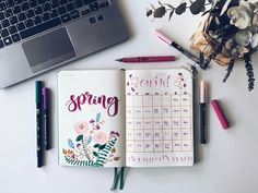 15 Super Pretty Monthlies for your bullet journal. ...  Like this April calendar spread blooming with spring flowers. And other bujo inspiration.