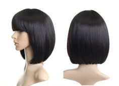 Cosplayland C932 - 35cm black BOB BOBE real hair liked Kleopatra Theater Wig by Cosplayland. $29.50. about 35cm, in black, straight, and with straight line pony natural, seems like the real hairthe fiber of this wig is heat-resistant up to 200°C.  You can styling this wig by youself with blow dryer, straighteners or curlers without damaging it with a extremely comfortable stretch fit cap and adjustable bands to fit average head sizes.