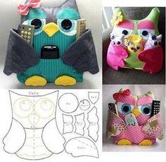 Ceci EuQfiz: Coruja porta controle remoto com molde Pattern App, Owl Crafts, Pdf Patterns, Couture, We Heart It, Patches, Crochet Hats, Diy, Image