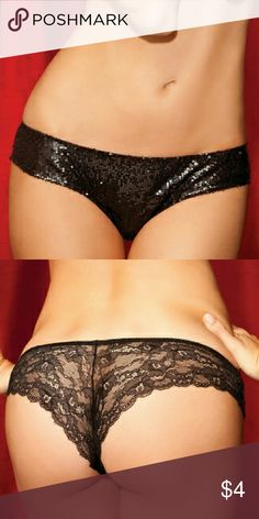 Yandy Show Girl Black Sequin Lace Back Panty These sexy little panties feature a shimmering sequin front, an elastic waist, and a cheeky and sheer black lace back. Brand new without tags, size large. Come from a smoking and pet friendly home. Yandy Intimates & Sleepwear Panties