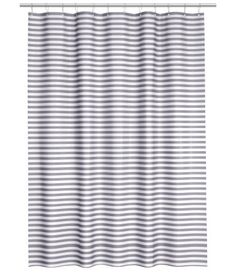 Water Repellent Fabric Shower Curtain Striped Black and White (Gray/White) Striped Shower Curtains, Bathroom Shower Curtains, Fabric Shower Curtains, Find Furniture, Home Decor Furniture, Young Couple Apartment, Mid Century Bathroom, New Bathroom Ideas, Bathrooms