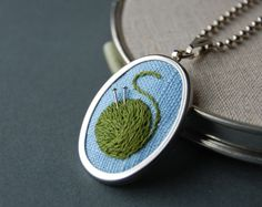 Embroidered Pendant Knitting Necklace by SeptemberHouse #etsy #craft #embroidery #necklace