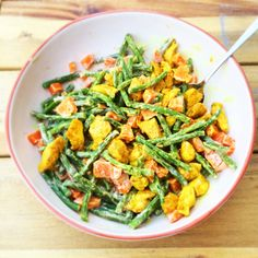 Green beans with sweet potato and chicken fillet - Healthy Low Carb Recipes, Healthy Meals For Kids, Healthy Cooking, I Love Food, Good Food, Healthy Diners, Happy Foods, Evening Meals, Food Inspiration