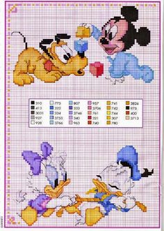 Mickey and Friends Disney Babies Cross Stitch Disney, Disney Cross Stitch Patterns, Cross Stitch For Kids, Cross Stitch Baby, Cross Stitch Charts, Cross Stitch Designs, Disney Babys, Baby Disney, Cross Stitching