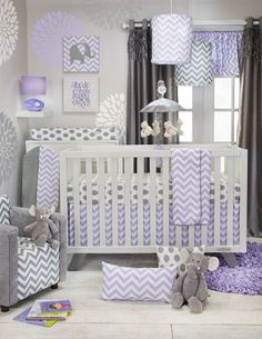 Fabulous is what this baby girls' posh lavender and grey Chevron and polka dot crib set is.