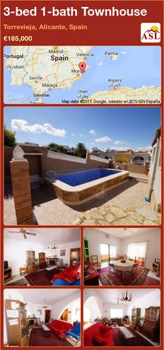 Unspecified for Sale in Torrevieja, Alicante, Spain with 3 bedrooms, 1 bathroom - A Spanish Life Valencia, Portugal, Torrevieja, Alicante Spain, Large Bedroom, Townhouse, Terrace, Swimming Pools, Relax