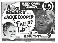 """Red Owl Stores sponsored the Wednesday 9 p. movies on Twin Cities Channel then called KMGM-TV. """"Treasure Island"""" with Wallace Berry and Jackie Cooper was shown on June Red Owl, Tv Guide, Treasure Island, Twin Cities, Wednesday, Berry, Channel, June, Movies"""
