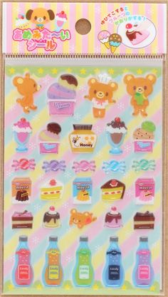 hard 3D stickers with bear animal dessert sweet treat by Lemon 5 Food  Stickers 64f3323a90f4
