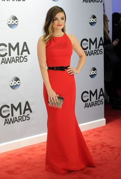 Lucy Hale is fierce in red at the CMA Awards