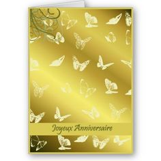 $3.35 This French birthday card has a gold background with butterflies. How cute?