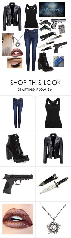 """""""Kristina Winchester"""" by kristinacole012 ❤ liked on Polyvore featuring Jeffrey Campbell, WithChic, Smith & Wesson, Hot Topic and Child Of Wild"""