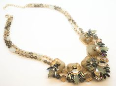 Ivory Statement Necklace Necklace Rhinestone Necklace by Cetro