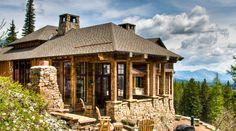 Western Rustic Timber & Stone Montana Mountain Ski Home