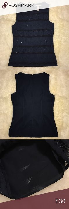 """Banana Republic Embroidered Bead Sleeveless Top Formal Navy Blue Embroidered Bead Sleeveless Blouse 🔅CONDITION: Good (deodorant stains (inside blouse) that can get taken off) 🔅CHEST: 32"""" 🔅WAIST: 26"""" 🔅LENGTH: measurement n/a although bottom of blouse sits on hip line 🔅INSEAM: *All measurements were taken while item was laid flat (doubled when necessary) and measured across the front. 🔅MATERIAL: Polyester 🔅STRETCH: None 🚫Trading Banana Republic Tops Blouses"""