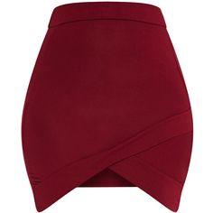 Basic Burgundy Asymmetric Mini Skirt ($14) ❤ liked on Polyvore featuring skirts, mini skirts, red skirt, burgundy mini skirt, asymmetrical short skirt, burgundy skirt and short skirts