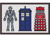 Icons of Who Cross Stitch Kit - Complete Charted Doctor Who Cross Stitch Kit - Cyberman, TARDIS and Dalek Cross Stitch
