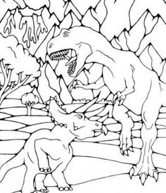 Kendall Bohn prehistoric creatures adult coloring page