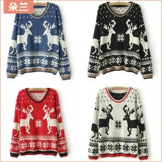 Free shipping sweaters 2013 women fashionwinter cute christmas sweaters for women thermal plus size female sweater bust 100cm