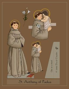Saint Paper Dolls by David Claudon St Anthony, St Bernadine, St Joan of Arc, St Rocco, and St Raphael Catholic Crafts, Catholic Kids, Catholic Saints, Roman Catholic, Saint Anthony Of Padua, Saint Joan Of Arc, St Joan, Saints For Kids, All Saints Day