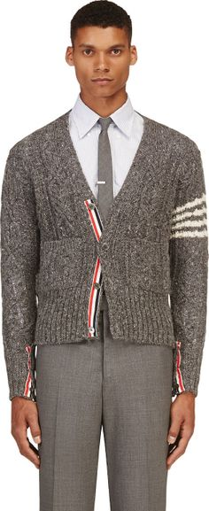 Thom Browne - Grey Cableknit Pocket Cardigan | SSENSE