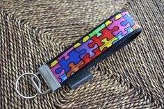 Key Fob  Autism Awareness puzzle fabric REGULAR by ctaylordesigns, $10.00