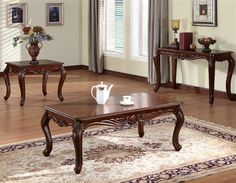 Birmingham Traditional Cherry Wood Coffee Table Set