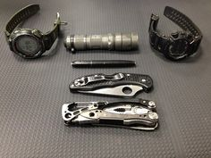 Casio Pathfinder PAW-1300     Casio G-Shock Stealth Backlit G9000MS     Spyderco Delica     Surefire L1     Leatheman Skeletool CX (in or out of a RipOff Clip on Case)