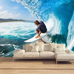 Customized 3D Stereoscopic Mural Wallpaper Surf Roll Waves Modern Sports Theme Wall Mural Restaurant Bar KTV Room Sofa Backdrop #Affiliate