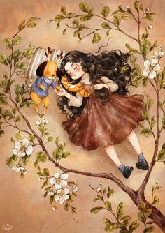 Hey guys, this is an illustrator from South Korea called Aeppol. he is currently illustrating a series called 'Forest Girl's Diary' depicting the everyday life of a young girl wit… Art And Illustration, Forest Girl, Korean Artist, Anime Art Girl, Whimsical Art, Girl Cartoon, Cute Drawings, Cute Wallpapers, Cute Art