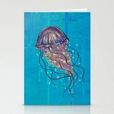 Float like a Jellyfish #Stationery Cards by Jellywell Art - $12.00 #jellyfish #blue #illustration #art #jellywellart #aqua #underthesea
