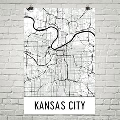 **MADE IN THE USA** You'll love this amazing Kansas City Art Print! This Kansas City city street map shows all of the winding streets of Kansas City. This will fit any decor, and also make great gifts