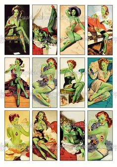 Pinup Zombie Girls 2  1x2 inch rectangles Great by CandyGraphics, $2.95