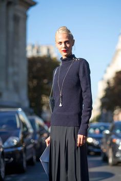 The Front Row View: Street Style: Aymeline Valade's Rollneck & Maxi-Skirt