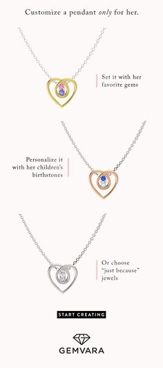 It's almost Valentine's Day. Customize this necklace to your exact liking – and price point.  14K yellow gold pendant with tanzanite and pink sapphire stones: $315 14K rose gold pendant with aquamarine and blue sapphire stones: $530 14K white gold pendant with diamonds: $675