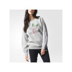 adidas Training Floral Logo Sweatshirt Medium Heather ( 65) ❤ liked on  Polyvore featuring grey 2d44cffaf9