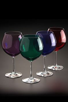 Marquis by Waterford Vintage Jewels Colored Aromatic Wine, Set of 4