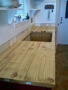 Awesome Furniture, Unfinished DIY Maple Butcher Block Countertop With Sink For  Small Kitchen Spaces With Wood Wall Painted With White Interior Color Decor  Ideas ...