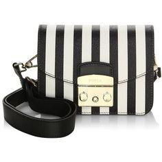 Furla Metropolis Stripe Leather Shoulder Bag (5.041.760 IDR) ❤ liked on Polyvore featuring bags, handbags, shoulder bags, man bag, genuine leather purse, leather man bags, handbag purse and purse shoulder bag