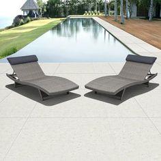 International Home Set of 2 Atlantic Mesh Seat Aluminum Patio Chaise Lounge