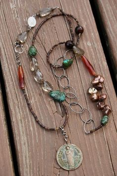 Turquoise and Stones Double Wrap necklace