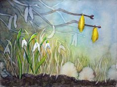 Versteckt unter der Hasel (c) ein Schneeglöckchen Aquarell von FRank Koebsch Baltic Sea, Watercolor Flowers, Spring, Watercolors, Art, Products, Watercolor Painting, Atelier, How To Paint