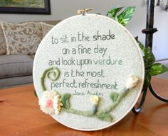 Green Jane Austen Hoop Art with Quote and Felt by BeyondTheStory, $32.00