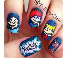 Rugrats Nail Art! used to watch this when i was little if only you had enough nails for all the characters might have to use your toes lol amazing x they are the best